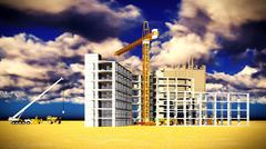 construction site at sunset - stock illustration