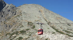 Gondola lift in the rocky mountains, Slovakia HD Stock Footage