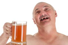 humorous portrait adult man with a beer in hand - stock photo