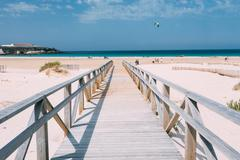 Wooden Path The Beach In Tarifa, Andalusia, Spain - stock photo