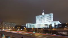 Government house of Russian Federation at night timelapse hyperlapse, Moscow Stock Footage