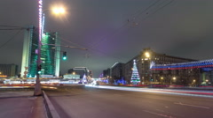 Buildings at New Arbat Street winter night timelapse. New Arbat is located in Stock Footage