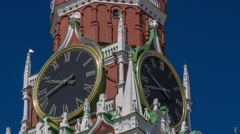 Moscow Kremlin, Red Square. Spasskaya clock tower timelapse hyperlapse - stock footage