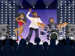 Rap Concert Scene - stock illustration