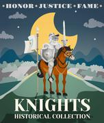 Knight Poster Illustration - stock illustration