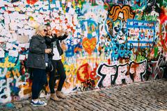 Famous place in Prague - The John Lennon Wall, Czech Republic Stock Photos