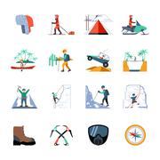 Expedition Icons Set Stock Illustration