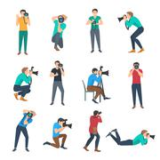 Photographer Avatars Set - stock illustration