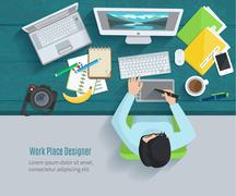 Designer Workplace Flat Stock Illustration