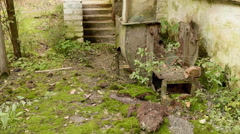 Abandoned factory in the forest. Autumn daytime. Smooth dolly shot. Stock Footage