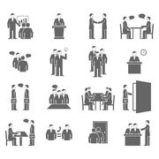 People Talking Flat  Black Icons - stock illustration