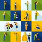 Working  Farmers And Gardeners Color Icons - stock illustration