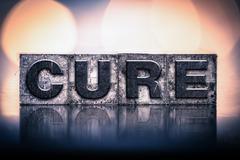 Cure Concept Vintage Letterpress Type Stock Photos
