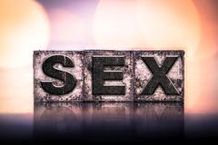 Sex Concept Vintage Letterpress Type Stock Photos