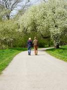 young couple taking a walk - stock photo