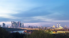 Panoramic view of Moscow City, Russia, from Sparrow Hills day to night timelapse Stock Footage