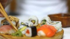 Sushi and wasabi eating. Close up - stock footage