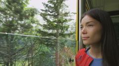 Tourist Enjoying Nature Through Train Window  - Transport Stock Footage