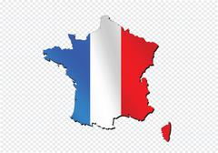 Map and  flag of France , French Republic - stock illustration