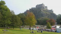 Edinburgh Castle and Princes Street Gardens Stock Footage
