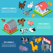 Isometric Animals Banners Stock Illustration