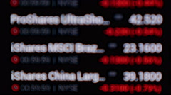 Screen shows the change in the price of securities.  Stock Footage