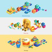Toys Isometric Banners - stock illustration
