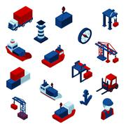 Stock Illustration of Isometric  Color Seaport Icons  Set