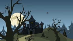 Halloween haunted castle, trees, bats, and a full moon. - stock footage