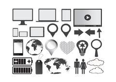 Set of concepts illustration trendy design for seo optimization , website  ,  Stock Illustration