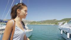 Beautiful Woman Tourist Visiting Walking At Harbor in Mallorca, Spain Stock Footage