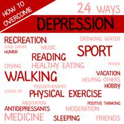 Sign with 24 ways how overcome depression Stock Illustration