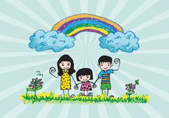 kids drawing happy family picture - stock illustration