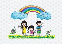 Stock Illustration of kids drawing happy family picture