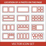 Icon set of location photos on page photobook - stock illustration