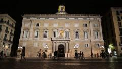 Government Building at Night in Barcelona Spain Stock Video Stock Footage