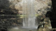 People Obscured Behind Ozone Falls Waterfall in Tennessee Stock Footage