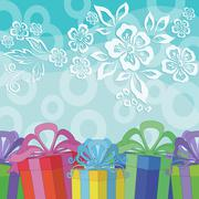 Stock Illustration of Holiday Background with Gift Boxes