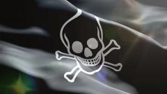 pirate flag waves 3d - stock footage