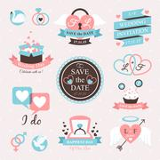Wedding Emblem Set - stock illustration
