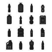 Plastic Bottle Silhouettes - stock illustration