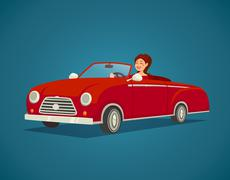 Woman Driver Illustration - stock illustration