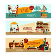 Eating People Banner Set Stock Illustration