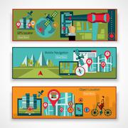 Gps Navigation Banner Set - stock illustration