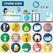 Personal hygiene flat icons composition banners - stock illustration
