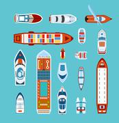 Ships top view flat icons set - stock illustration