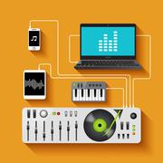 Dj Workspace Illustration - stock illustration