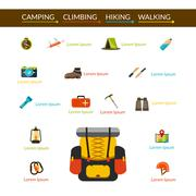 Camping And Hiking Icons Set - stock illustration