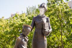 Volgograd, Russia - August 15, 2014: The monument to the first teacher on the - stock photo
