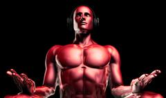 Man with Headphones Listening to Music Meditating Piirros